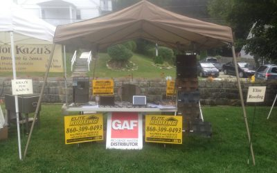 Elite Roofing CT, LLC Booth at Norfolk Farmers Market